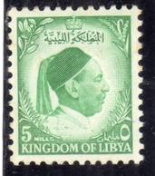 UNITED KINGDOM OF LIBYA REGNO UNITO DI LIBIA 1952 RE IDRISS KING MILLS 5m MLH - Libia