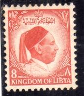 UNITED KINGDOM OF LIBYA REGNO UNITO DI LIBIA 1952 RE IDRISS KING MILLS 8m MH - Libia