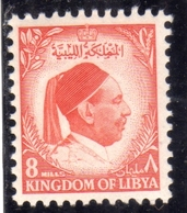 UNITED KINGDOM OF LIBYA REGNO UNITO DI LIBIA 1952 RE IDRISS KING MILLS 8m MNH - Libia