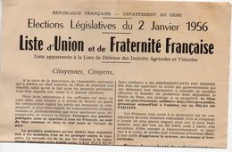 (32 Gers) Déclaration UNION ET FRATERNITE FRANCAISE Législatives 1956 (PPP17983) - Vieux Papiers