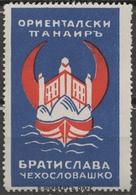 BULGARIA - Ship Danube Czechoslovakia Slovakia Bratislava CASTLE Fair CINDERELLA LABEL VIGNETTE Crescent Orient - Bulgaria