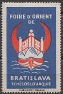 FRANCE Ship Danube Czechoslovakia Slovakia Bratislava CASTLE Fair CINDERELLA LABEL VIGNETTE Crescent Orient - Advertising