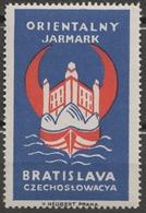POLAND Ship Danube Czechoslovakia Slovakia Bratislava Fortress CASTLE Fair CINDERELLA LABEL VIGNETTE Crescent Orient - Labels