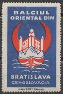 ROMANIA Ship Danube Czechoslovakia Slovakia Bratislava Fortress CASTLE Fair CINDERELLA LABEL VIGNETTE Crescent Orient - Other