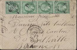 YT 20 Bande De 4 Empire Dentelé 5c Vert Jaune Oblit étoile 15 CAD Paris Rue Bonaparte 11 12 65 - Marcophilie (Lettres)