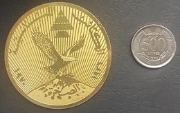 Lebanon Kataeb Very Beautiful Asakhra 1936-1970 Gold Plated Medal (Mount Sannine ?, Eagle) - Tokens & Medals