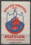 ROMANIA Sailing Ship Danube Czechoslovakia Bratislava CASTLE Fortress Fair CINDERELLA LABEL VIGNETTE Crescent Orient - Other
