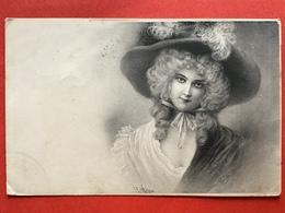 Illustrateur VIENNE - DAME MET LANG HAAR EN GROTE HOED - FEMME CHEVEUX LONG ET GRAND CHAPEAU - Vienne