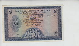 AB153. National Commercial Bank Of Scotland Ltd £5 Note 2nd Jan '63 #C325109 FREE UK P+P - Scozia