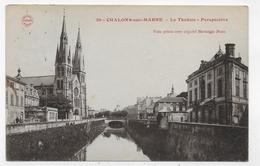 (RECTO / VERSO) CHALONS SUR MARNE - N° 20 - LE THEATRE - PERSPECTIVE - VUESPRISES AVEC OBJECTIF HERMAGIS - CPA VOYAGEE - Châlons-sur-Marne