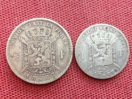 BELGIQUE Lot De 2 Monnaies Argent - 1865-1909: Leopold II