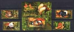 Hungary 1999. Animals Of Asia Set With Sheet (birds, WWF Panda Bears, Orangutan...) MNH (**) Michel: 4544-4547 + Bl.250. - Unused Stamps