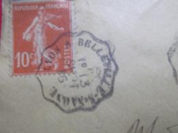 Marcophilie  Cachet Lettre Obliteration -  Convoyeur Lyon à Belleville-s-Saone - 1916 - (2299) - Marcophilie (Lettres)