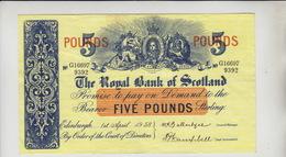 AB303. The Royal Bank Of Scotland Plc £5 Banknote 1st April 1958 #G16697/9392 FREE UK P+P - Scozia