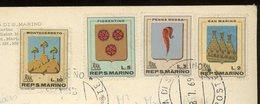 SAINT MARIN - DIVERS -  N° Yt  710+711+712+713 SUR CARTE POSTALE DE 1969 POUR LA FRANCE - Lettres & Documents