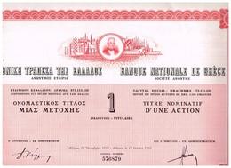 Titre Ancien -Banque Nationale De Grèce Société Anonyme - Titre De 1962 - Bank En Verzekering