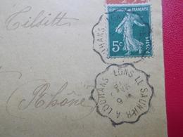 Marcophilie  Cachet Lettre Obliteration -  Convoyeur Lons Le Saunier à Louhans - 1918 - (2306) - 1877-1920: Semi-Moderne