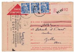 1947 - GANDON 4F50 X 3 Sur CARTE RECOMMANDÉE CONTRE REMBOURSEMENT GRIFFE ALBI (TARN) Pour GAILLAC - Storia Postale
