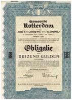 Titre Ancien - Gemeente Rotterdam - Titel  Van 1937 - Banque & Assurance