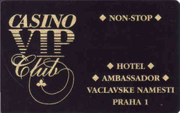 Czech Republic, Casino VIP Club Card Hotel Ambasador Prague, Roulette, Blackjack Poker, Punto Banco, Gebraucht-oblitérée - Casino Cards