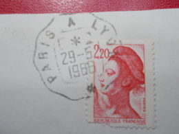 Marcophilie  Cachet Lettre Obliteration -  Convoyeur Paris à Lyon - 1966 - (2309) - Marcophilie (Lettres)