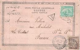 EGYPTE - PAQUEBOT - LIGNE N - PAQ.FR.N°8 10-12-1904 - CARTE POSTALE TAXEE - LA CIOTAT - BOUCHE DU RHONE. - Ägypten