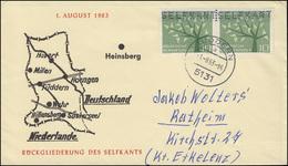 Rückgliederung Des Selfkant 1. August 1963 Schmuck-Brief Mit 383 Mit Lochung - BRD