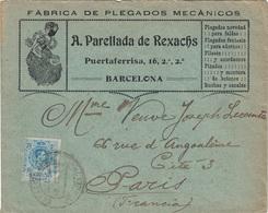 ESPAGNE - BARCELONA - ENVELOPPE PUBLICITAIRE - FABRICA DE PLEGADOS MECANICOS - 10-7-1911. - Cartas