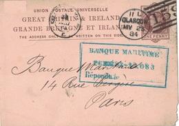 GRANDE BRETAGNE - GLASGOW - ENTIER POSTAL AVECREPIQUAGE UNION BANK EN 1884. - Covers & Documents