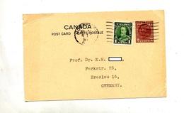 Carte Postale 2c Roi + Timbre Flamme Muette Montreal - 1903-1954 De Koningen