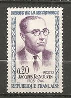 1961 Yv. N° 1288   ** MNH 20c   Renouvin   Cote  1,2  Euro TBE - Frankreich
