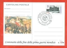 INTERI POSTALI-CARTOLINA POSTALE SOPRASTAMPA PRIVATA- MILITARII-MARCOFILIA-NOVARA-CENTENARIO DELLA VITTORIA - Guerra 1914-18