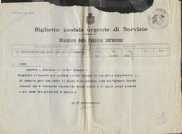 BIGLIETTO POSTALE URGENTE DI SERVIZIO - DA PROVVEDITORE CREMONA 19.03.1921 - MOD 25ter SERV. ELETT. - 1861-78 Victor Emmanuel II.