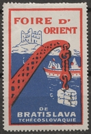 Crane Port Harbor Ship Danube Czechoslovakia Bratislava CASTLE Fortress Fair CINDERELLA LABEL VIGNETTE Orient - Ships