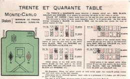 CPA B73 JEU TRENTE ET QUARANTE TABLE-MONTE-CARLO- Explications Des Règles En Anglais - Cartes Postales