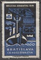ROMANIA Ship Steamer DANUBE Crane Port Maritime Czechoslovakia Bratislava Fair CINDERELLA LABEL VIGNETTE Orient - Other