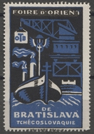 DANUBE Ship Steamer Harbor Crane Port Maritime Czechoslovakia Bratislava Fair CINDERELLA LABEL VIGNETTE Orient France - Ships