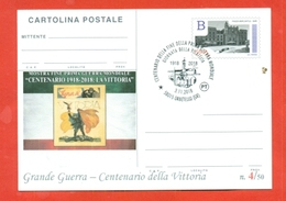 INTERI POSTALI-CARTOLINA POSTALE SOPRASTAMPA PRIVATA-MILITARII-MARCOFILIA-ORBETELLO-CENTENARIO DELLA VITTORIA - Guerra 1914-18