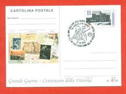 INTERI POSTALI-CARTOLINA POSTALE SOPRASTAMPA PRIVATA-MILITARII-MARCOFILIA-ACQUI  TERME-CENTENARIO DELLA VITTORIA - Guerra 1914-18