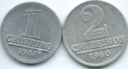 Brazil - Cruzeiro Antigo - 1 Cruzeiro - 1961 (KM570) & 1960 - 2 Cruzeiros (KM571) - Brazil