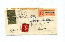 Lettre Recommandee Valognes Sur Semeuse - Marcophilie (Lettres)