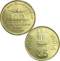 India, 2011, 5 Rupee, 100 Years Of Civil Aviation, UNC - Inde