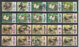 MALESIA  PRINCIPATI:  1976/78  FARFALLE  -  LOTTICINO  20  VAL. US. - Malesia (1964-...)