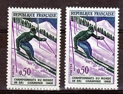 France 1327 Variété Jambe Verte Et Original Skieur Neuf ** TB MNH Sin Charnela - Variedades Y Curiosidades