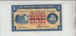 AB208. The Union Bank Of Scotland Ltd £1 Note 8th December 1952 #F/35 864908  FREE UK P+P - [ 3] Scotland