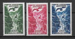 ANDORRE - POSTE AERIENNE YVERT N°2/4 **/* (N°4 ** MNH ET N° 2/3 MLH) - COTE = 180 EUR. - French Andorra