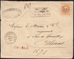 N°31, Oblitéré GC 943 CHATEAUNEUF-SUR-LOIRE Lettre Chargée Pour Orléans 1869 - 1863-1870 Napoleon III With Laurels