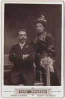 COUPLE. MARIAGE. CDV CABINET Chéri Rousseau à ST Etienne. Tirage Au Charbon - Photographs