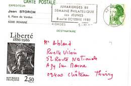 E44. CARTE POSTALE JUVARIORGES SEMAINE PHILATELIQUE DES JEUNES - RIORGES - 1988 - Entiers Postaux