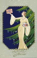 Art Deco Pochoir Meschini Belle Femme Sapin Noel Cadeaux  Ars Nova - Autres Illustrateurs